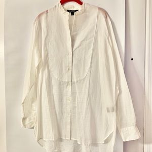 Tuxedo style sheer cotton blouse Crisp bib front